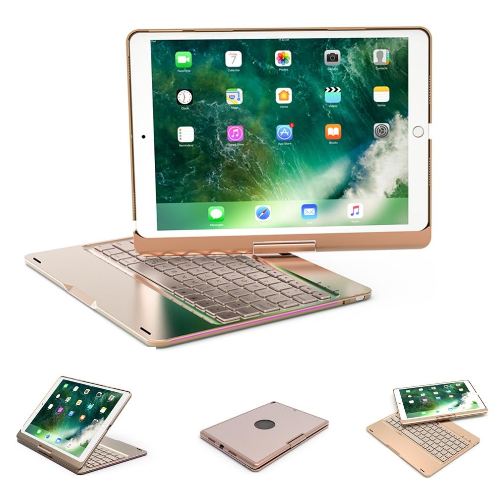 360 Rotation Bluetooth 7 Couleurs Rétro-Éclairé En Aluminium Couverture de Caisse de Clavier Pour Le Nouvel iPad 2017 2018 9.7 pouces iPad Air Air 2 Pro 9.7 10.5