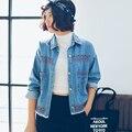 Новое прибытие осень и зима с отложным шеи вышивка хлопок джинсовые куртки женщин Негабаритных Стиль Верхняя Одежда джинсы куртки
