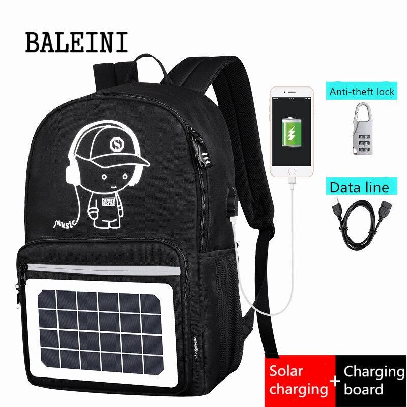 Panneau solaire hommes sac à dos alimenté sac à dos Usb charge Anti-vol ordinateur portable voyage sacs à dos pour hommes toile sac à dos sacs imperméables