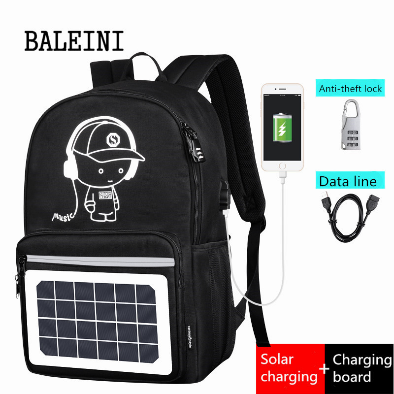 Men, Bagpack, Solar, Usb, Powered, Canvas
