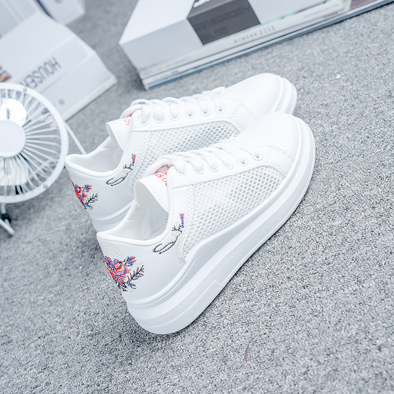 White Casual Women Vulcanize Shoes Breathable Hollow Lace Up Ladies Shoes Female Leisure Embroidered Sneakers Women Summer FlatsWhite Casual Women Vulcanize Shoes Breathable Hollow Lace Up Ladies Shoes Female Leisure Embroidered Sneakers Women Summer Flats