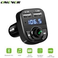 ONEVER автомобильный fm-модулятор передатчик Bluetooth гарнитура для авто MP3-плееры SD TF воспроизведения музыки Dual USB 4.1a Быстрый Зарядное устройство ...