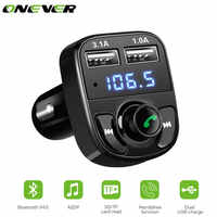 Onever Car FM Transmitter Modulator Bluetooth Car Kit MP3 Player SD TF Music Play Dual USB 4.1A Quick Charger Voltage Display