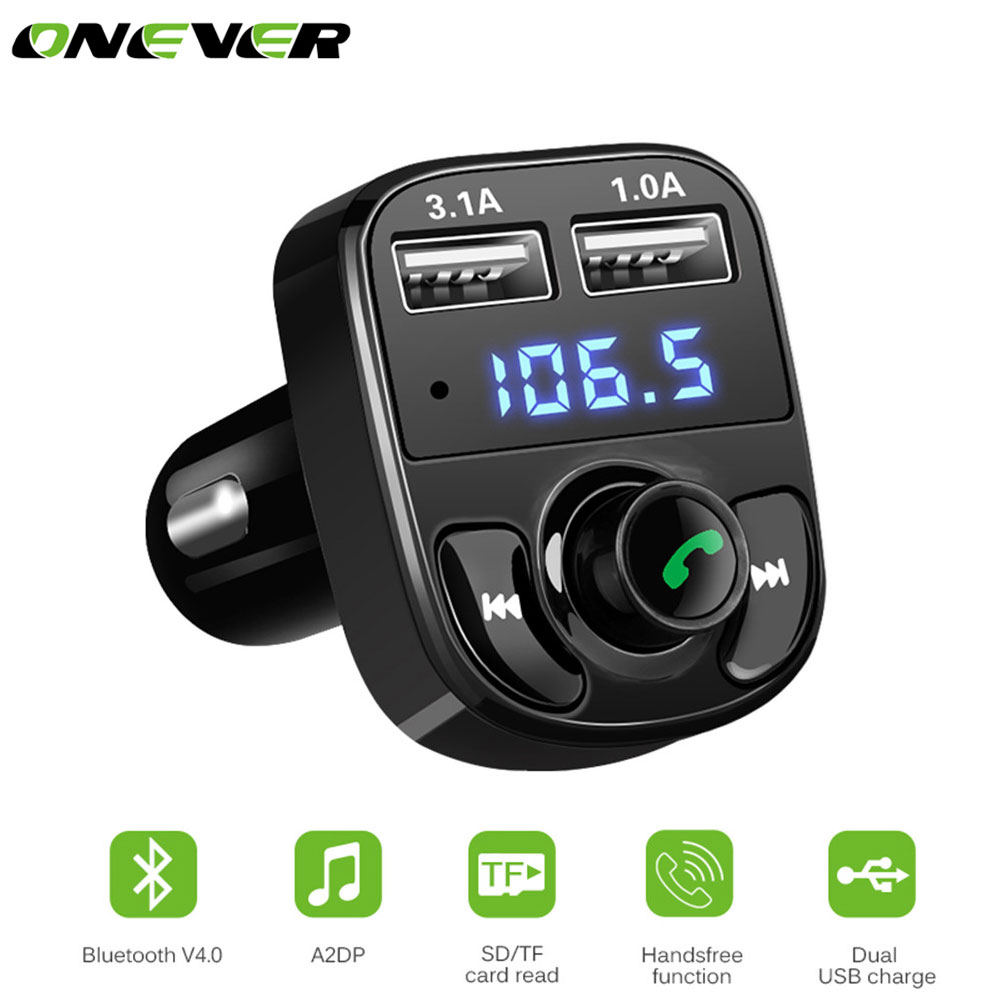 Onever Carro Modulador Transmissor FM Bluetooth Car Kit MP3 Player SD TF Music Play Dual USB 4.1A Tensão do Carregador Rápido exibição