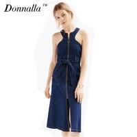 Pencil Shift Denim Dress Women Sleeveless Halter Summer Dresses Jeans Zipper Split Dresses For Women Knee