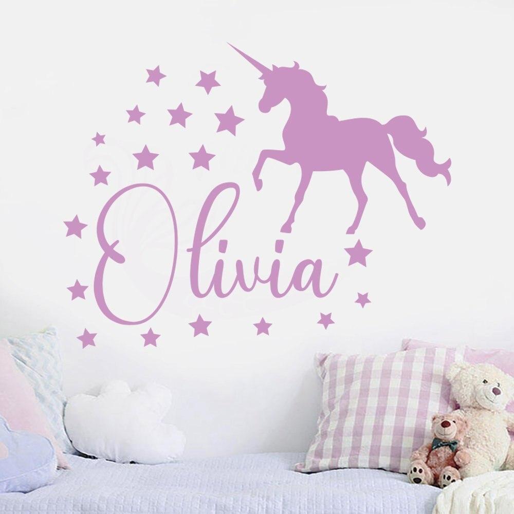 Custom Name Personalised Nursery  Decal Kids  Art Bedroom Wall Stickers Unicorn