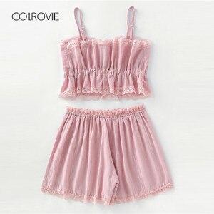 Image 4 - COLROVIE kontrastowa koronka Cami z szortami zestaw piżamy damskie różowe ramiączka spaghetti bez rękawów ściągany sznurkiem w pasie śliczne piżamy