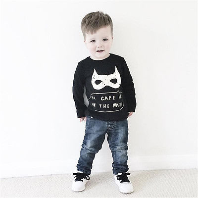 Fashion Baby Kids Boys Long Sleeve Batman Pullover Tops T-shirt Sweatshirt Winter Autumn Cotton Sweatshirts Size 2T-6