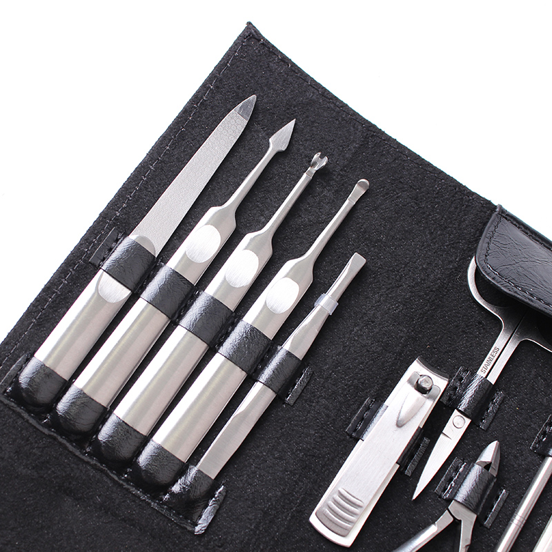 New 11 Pcs Manicure Set Stainless Nail Clipper Kit Nail Cutter Scissors Tweezers Cuticle Grooming Kit Utility Nail Art Tools Set