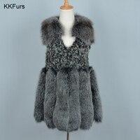 JKKFURS Fashion Style Women Fur Vest Real Fox Fur & Mongolian Sheep Fur Warm Gilet Autumn Winter Retail / Wholesale S7260