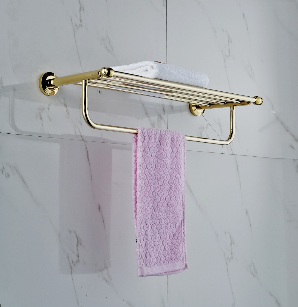 Bathroom accessory polished golden brass wall mounted for Bathroom accessories towel racks