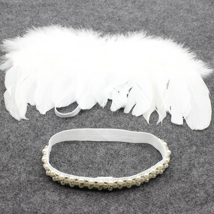 10set Lovely  Angel Wing Newbron pearl hair band Angel Fairy White Feather Wing Costume head band Cupid Photo Prop YM6136