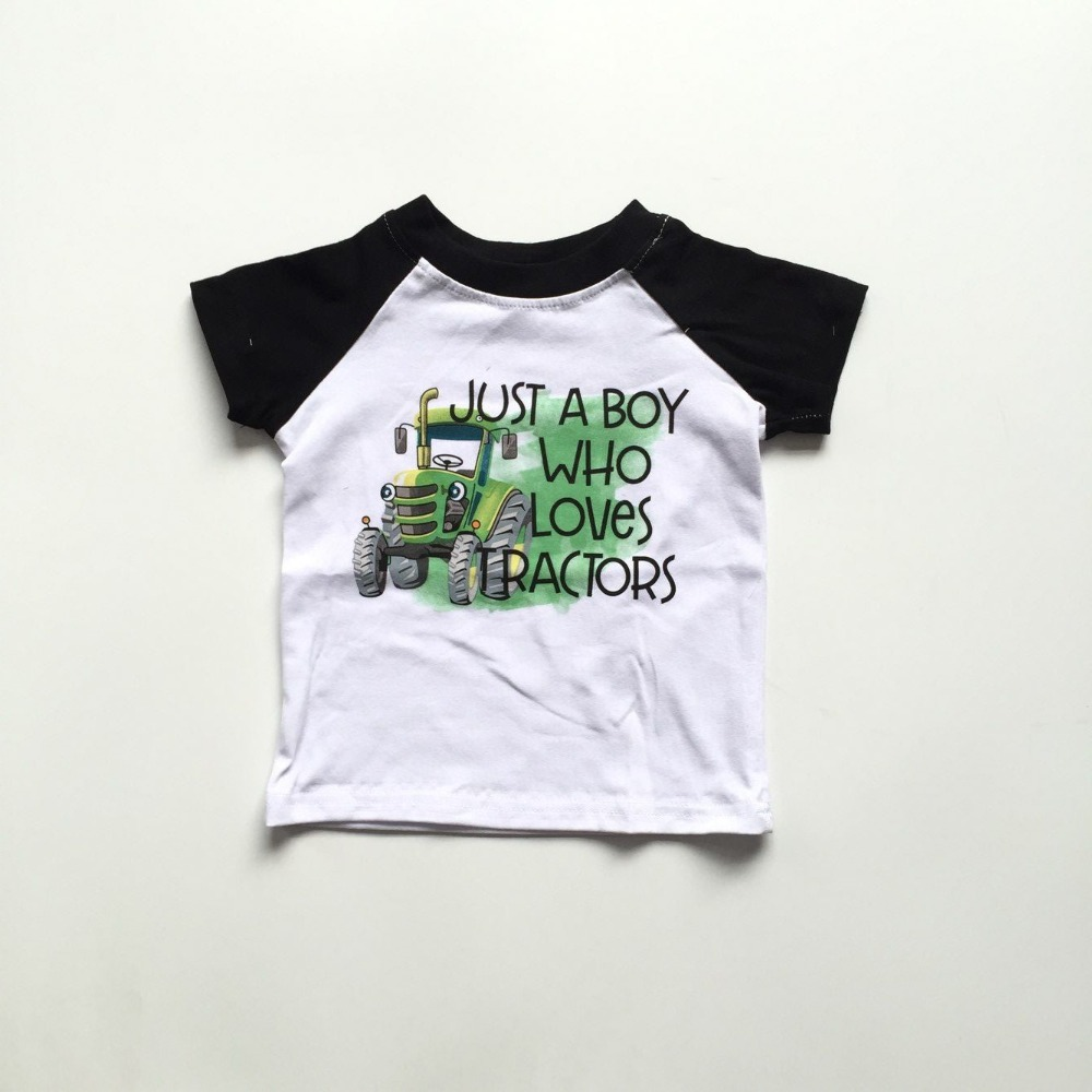 New Arrivals Summer Baby Boy's Boy Just A Boy Who Loves Tractors Black Green Short Sleeve Top T-shirt Boutique Children Clothes