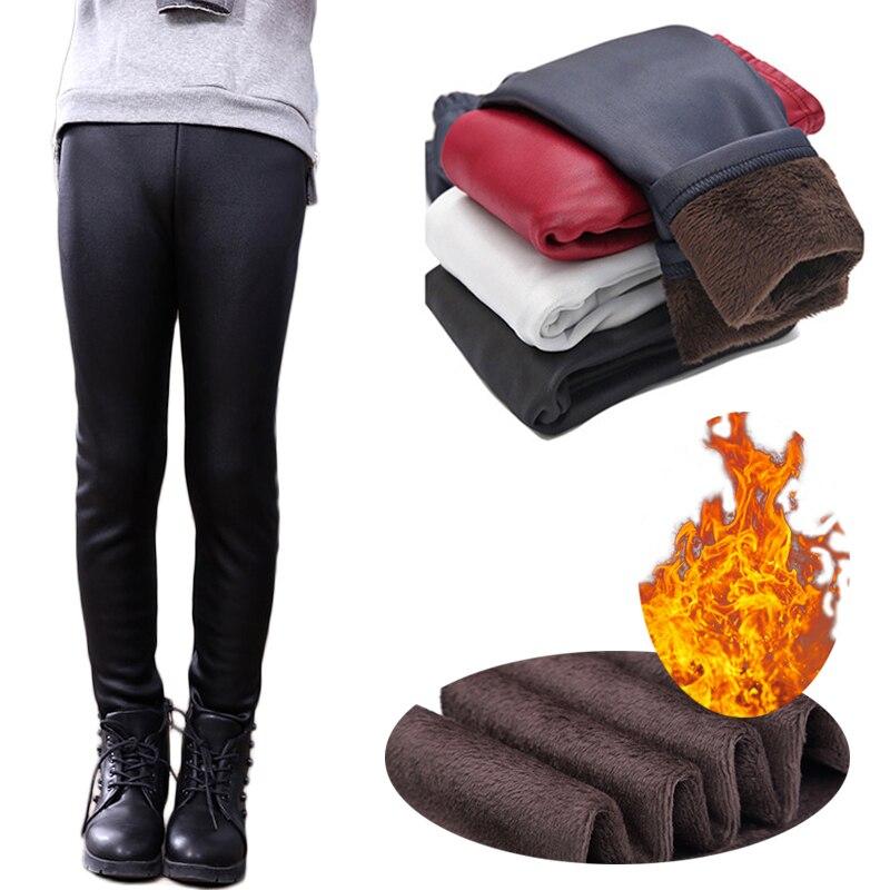 Meninas leggings de inverno calças magras 3-11 anos crianças falso couro estiramento calças espessamento leggings quentes com velo