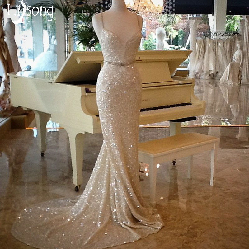 Modest Light Champagne   Evening     Dress   Long Mermaid Sheath Womens Party Formal Gowns Sequin Vestidos Longo Special Occasion   Dress