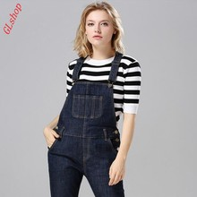 Euro Style New Fashion High Quality Womens Overalls High Waist Long Jeans Slim Fit Button Skinny Jeans Blue Free Shipping