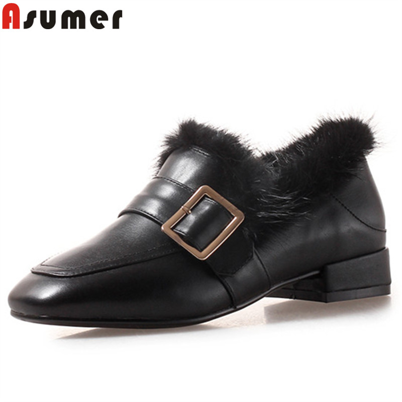 ASUMER 2018 fashion autumn shoes woman square toe shallow square toe med heels ladies pumps women shoes genuine leather shoes asumer beige fashion summer shoes woman square toe shallow elegant sandals women genuine leather high heels shoes