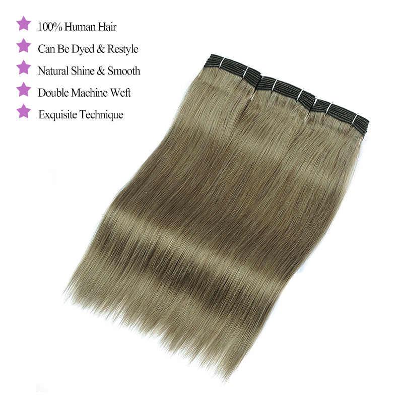 Блестящие Звездные льняные зеленые человеческие волосы плетение пучки с закрытием 4 цветные малазийские прямые пучки волос с закрытием не Реми