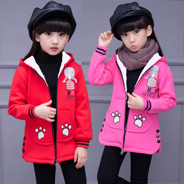 4-12Y Girls Winter Coats Cotton Jackets Wool Hooded Collar Zipper Outerwear Children Clothing Kids Clothes KC-1703