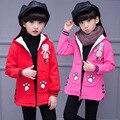 4-12Y Meninas Casacos de Inverno Casacos de Algodão Com Capuz de Lã Gola Zipper Outerwear Crianças Roupas Roupa Dos Miúdos KC-1703