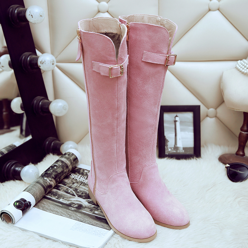 ФОТО Botas Mujer Sale Genuine 0-3cm Solid Square Heel Round Toe Rubber Zip Shoes Big Size 2017 New Boots, Winter Knee Boots