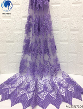 BEAUTIFICAL 2019 nigerian lace fabrics 3D embrodery fabric green colour african wholesale ML33N71