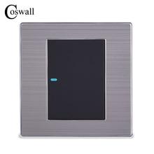 Coswall 1 כנופיית 1 דרך יוקרה LED אור לעבור על/כיבוי מתג קיר Interruptor מוברש כסף פנל 10A AC 110 ~ 250V