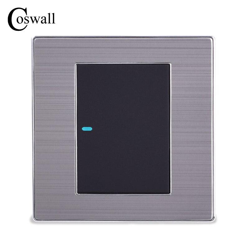 Coswall 1 عصابة 1 طريقة الفاخرة LED مفتاح الإضاءة على/قبالة الجدار التبديل Interruptor نحى الفضة لوحة 10A AC 110 ~ 250V1 gangpush button wallwall light panel -