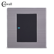 Coswall 1 Gang 1 Way Luxury LED สวิทช์เปิด/ปิดสวิทช์สวิทช์ Brushed Silver แผง 10A AC 110 ~ 250V