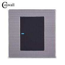Coswall interrupteur mural, lumière LED de luxe voies, 1 voie, bouton, On/Off, panneau argent brossé 10A, AC 110 250V
