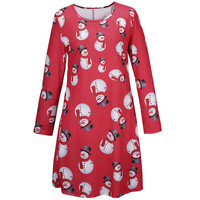 New Fashion Christmas Party Dress Women Loose Christmas Snowman Printed Dresses Long Sleeve Party Women Dress Vestido For Mother
