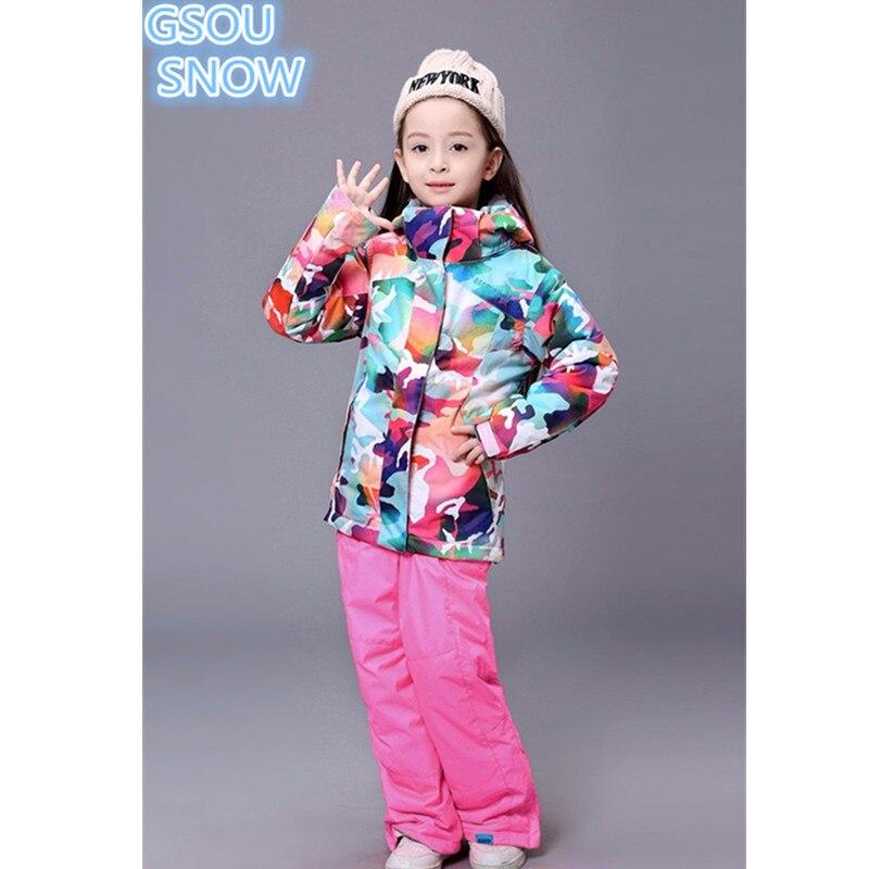 Gsou снег детская одежда зима лыжный костюм ветрозащитная 10000 лыжный Куртки + зимние штаны Одежда для девочек открытый 30 градусов