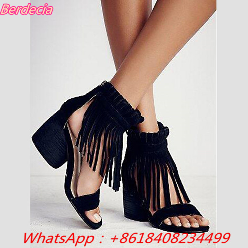 Fringe High Heels Rome Women Sandals Open Toe Square Heels Gladiator Shoes Women Zipper Women Casual Sandals Zapator Mujer