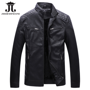 2019 New Men Black PU Leather Jackets and Coats Winter Thicker Solid Jacket Zipper 5XL Keep Warm Leather Male Stand Fashion Coat
