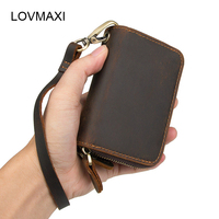 LOVMAXI crazy horse leather man's key wallets coffee car key holder Retro genuine leather key holders high quality key case