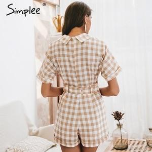 Image 4 - Simplee V neck short sleeve plaid women playsuit Elegant casual streetwear summer jumpsuit romper Sash belt ladies overalls 2019