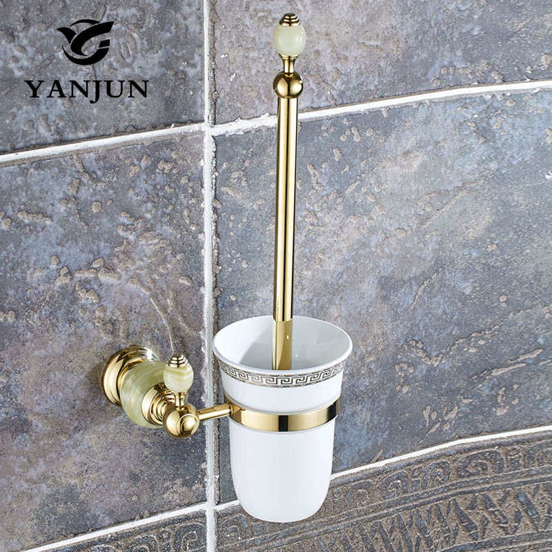 Yanjun Wall Mounted Polished Golden Jade Brass Toilet Brush Holder Bathroom Accessories WC Brush With A