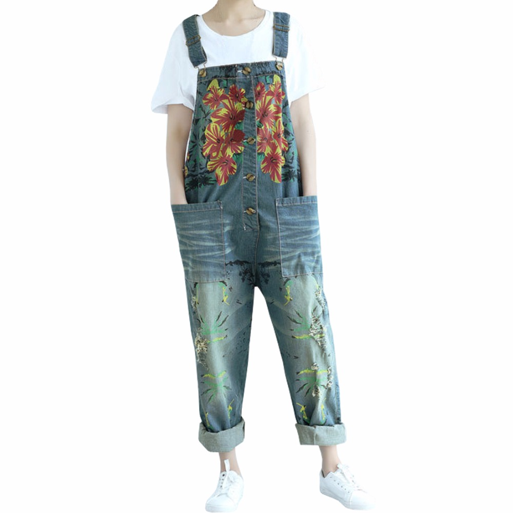 d30db1223498 Detail Feedback Questions about SiDiOU Group Women s Casual Printed Baggy  Trousers Wide Leg Dungarees Cotton Denim Romper Jumpsuit Playsuit Overalls  on ...