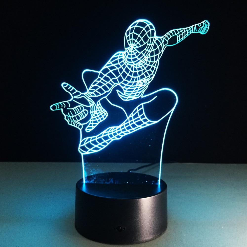 Spiderman 3D Led Light Visual Night լույսերի դեկորատիվ սեղանի լամպ USB LED Creative 3D լուսավորող լամպի Chrismas նվեր