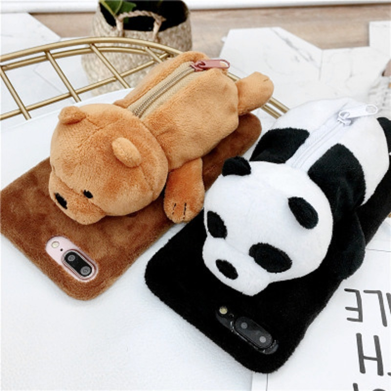For Iphone Cute Fuzzy Furry Rabbit Hair Warm Plush Fur 3d Polar Bear And Panda Toy Doll Novelty Coin Purse Zipper Soft Tpu Case Special Summer Sale Cellphones & Telecommunications Half-wrapped Case