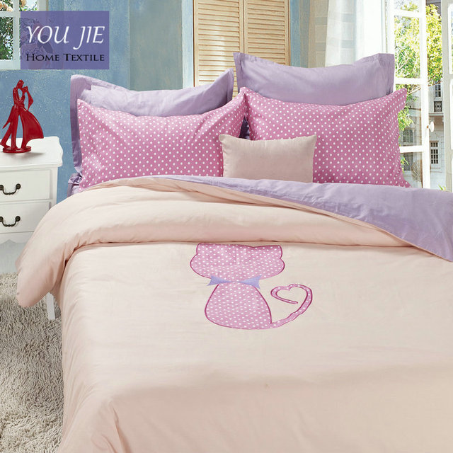 Amazing 100 Cotton Pink Cat Bedding Set Lavender Bed Sheets Embroidered Duvet Cover  Queen Comforter Sets King