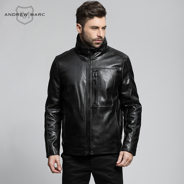 MARC NEW YORK ANDREW MARC 2016 PU Men Leather Short Slim Jacket Motorcycle Biker Jackets Coat S-XXL TM6AP190