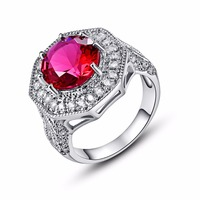 Valentine S Day Gift Silver Ring Promise Rings For Lover Rose Red Stone Jewelry Accessories