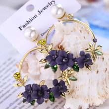 ZOSHI 2019 New Elegant Big Circle Flower Drop Earrings For Women Fashion Simulated Pearl Rhinestone Boucle D'oreille(China)