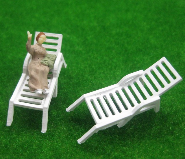 Yz8704 Model Railway Layout 1 87 Sun Loungers Beach Chairs Ho Oo Scale