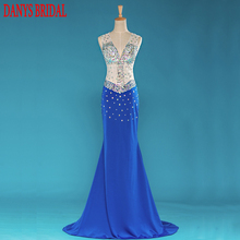 Luxury Crystal Long Evening Dresses Mermaid Party Beautiful Womens Beaded Formal Evening Gowns Dresses Wear