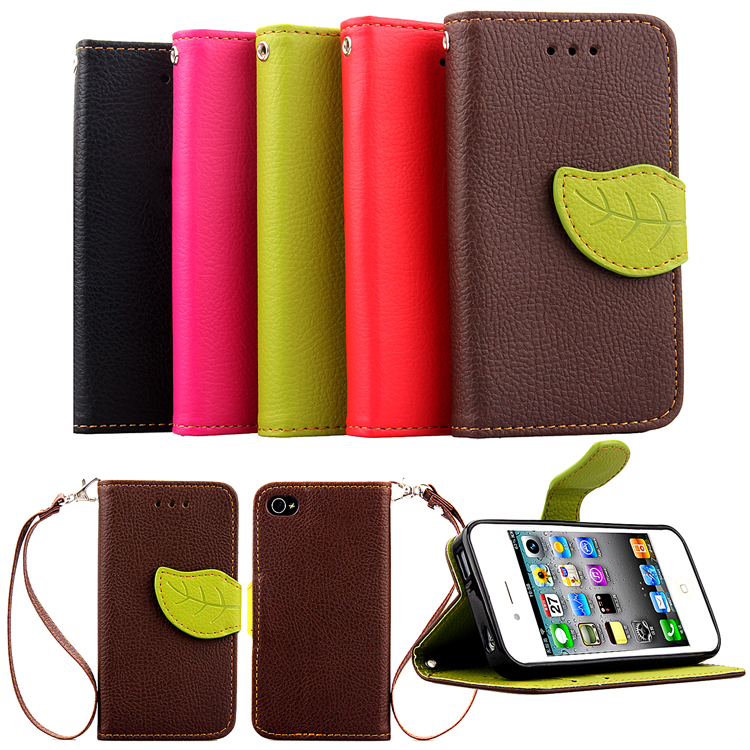 iphone 4 wallet case i4 premium quality pu leather for apple iphone 4 4s 14411