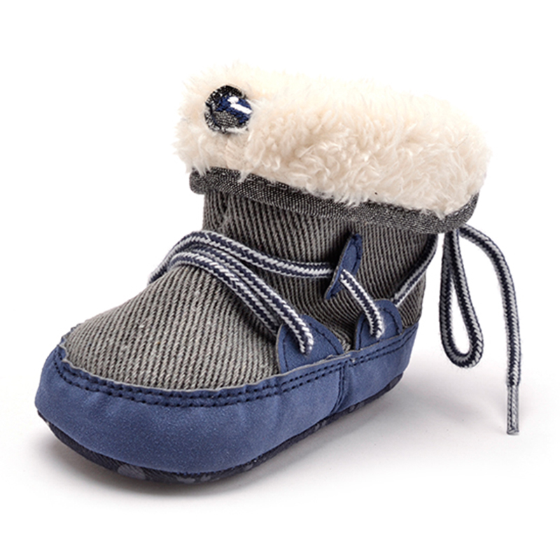 Winter Kids Baby Boy Warm High Snow Boots Soft Bottom Shoes Ankle Shoes
