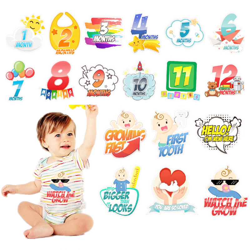 18 PC Baby Month Sticker Cute Cartoon Photograph Props Month Sticker Newborn Commemorative Milestone Clothes Decoration Stickers