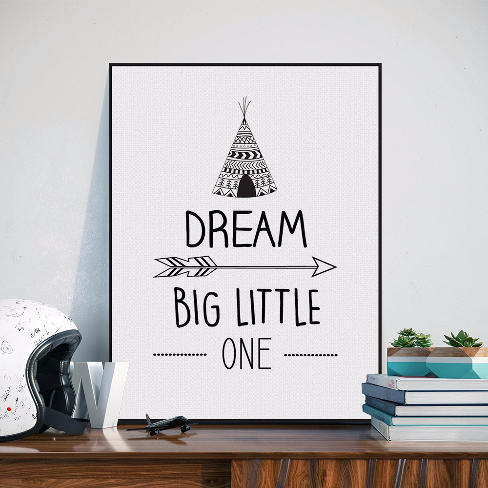 Dream Big Little One Quote Canvas Art Painting Print Poster Pintura - Decoración del hogar
